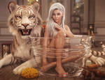 White Tiger, Sexy White-Haired Pin-Up Girl in Tub