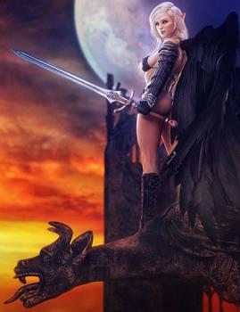 Dark Angel, Fantasy Warrior Woman Art, Daz Studio