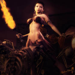 Fire Dance, Fantasy Woman and Skeletons 3D-Art
