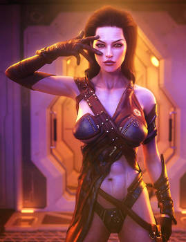 Dark Haired Sci-Fi Girl 3D-Art, Daz Studio Iray