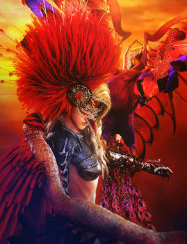 Phoenix, Blonde Fantasy Girl with Mask and Wings