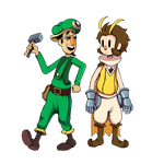 Owlboy and green guy