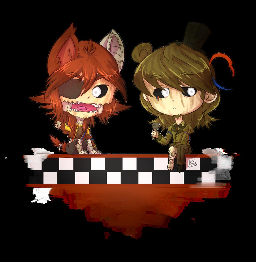 Phantom foxy and phantom freddy by en wakwaw on deviantart