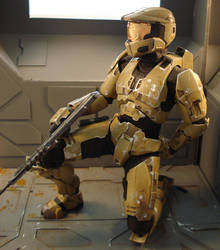 Halo master chief kneeling by redner