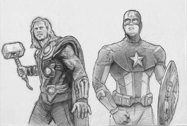 The Avengers: Thor and Capt. America by rufohg