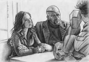 The Avengers: Nick Fury and Natascha Romanoff by rufohg