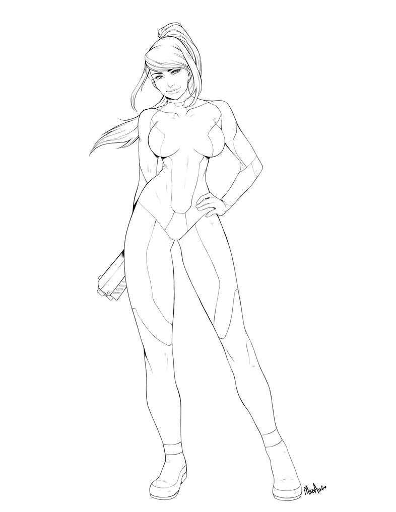Zero Suit Samus - Line Art by MissAudi