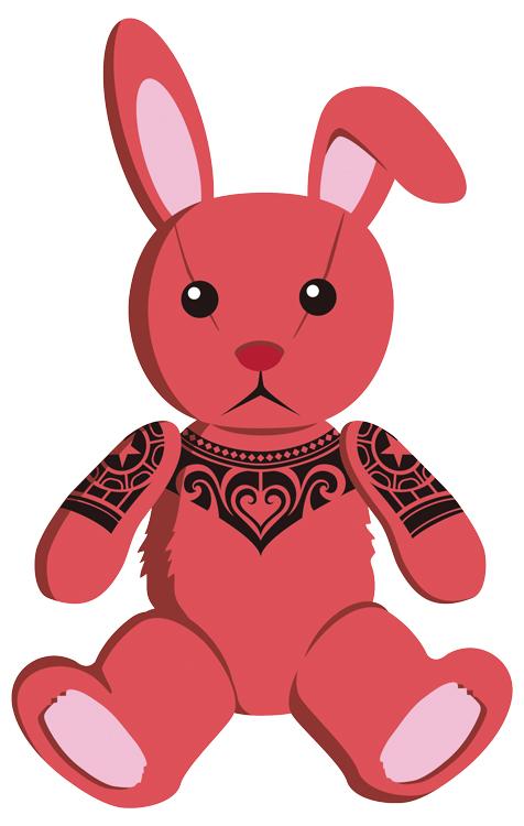 Tribal tattooed stuffed rabbit. by Takihisa
