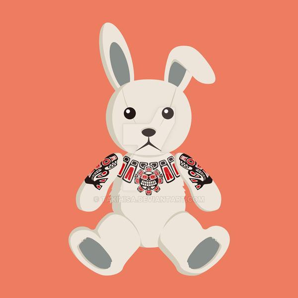 Haida tattooed bunny rabbit by Takihisa