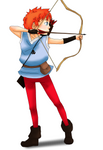 Bow and arrow and a squire