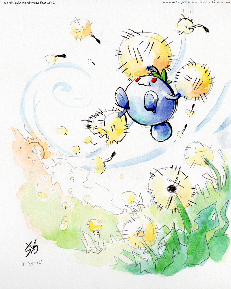 Jumpluff Watercolor Sketch by Holotuff