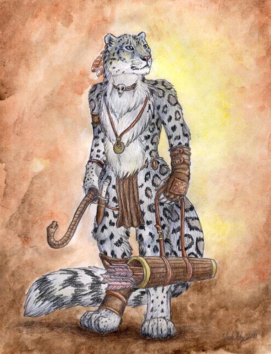 Snow Leopard Archer by autumnjaguar
