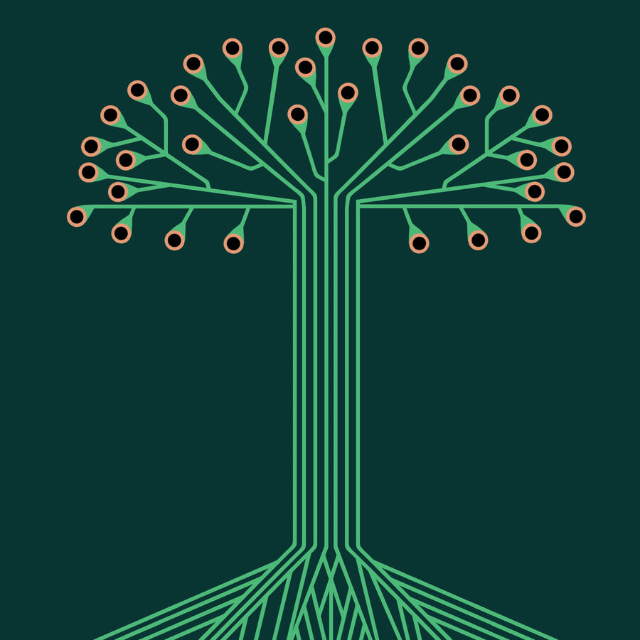 Tree made from printed circuit board traces by jeffknapp on DeviantArt