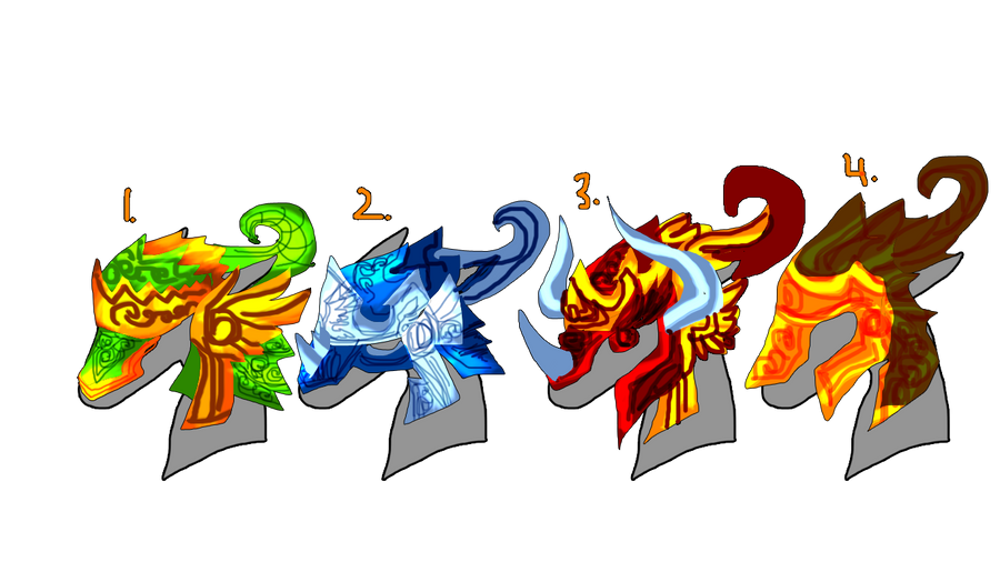 Indonesian Dragon Helmets Adoptable(7 points each) by Asoq