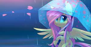 Fluttershy in the Rain by Hollulu