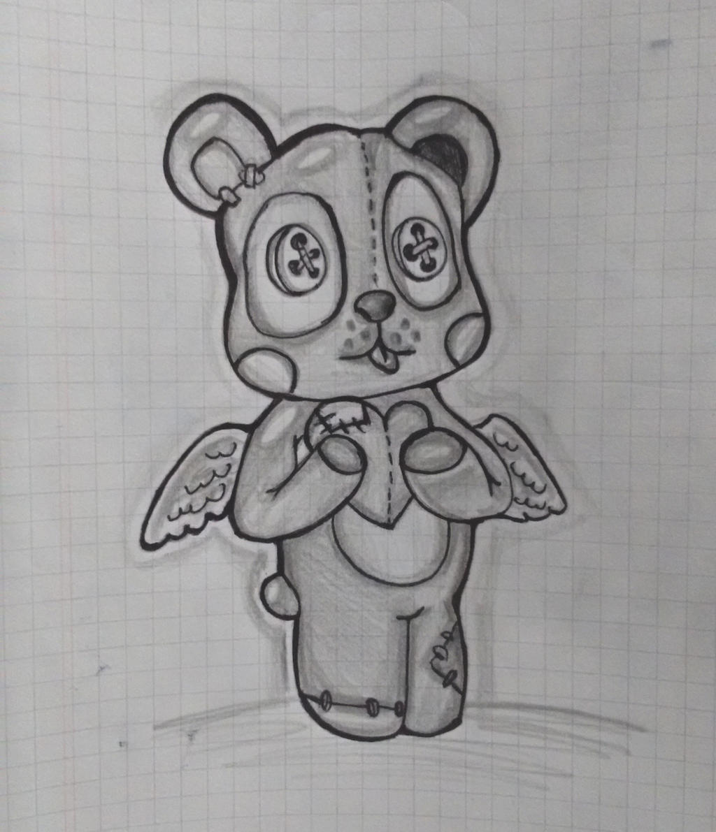New Line Art Design : Teddy bear new school tattoo design by blacknekobit on