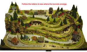 N-gauge layout - The Rabbit Warren tunnel labels