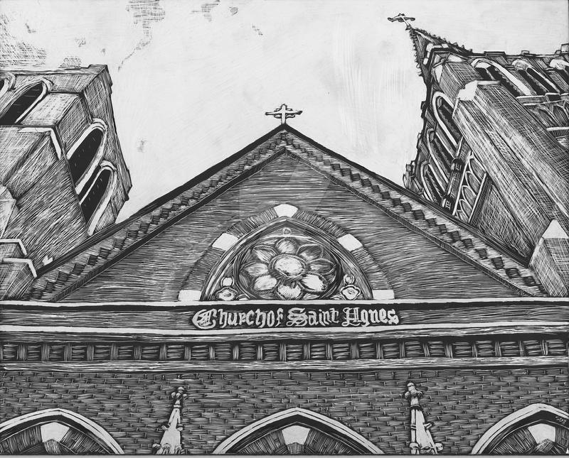 Scratchboard: Church of Saint Agnes by DentistChicken