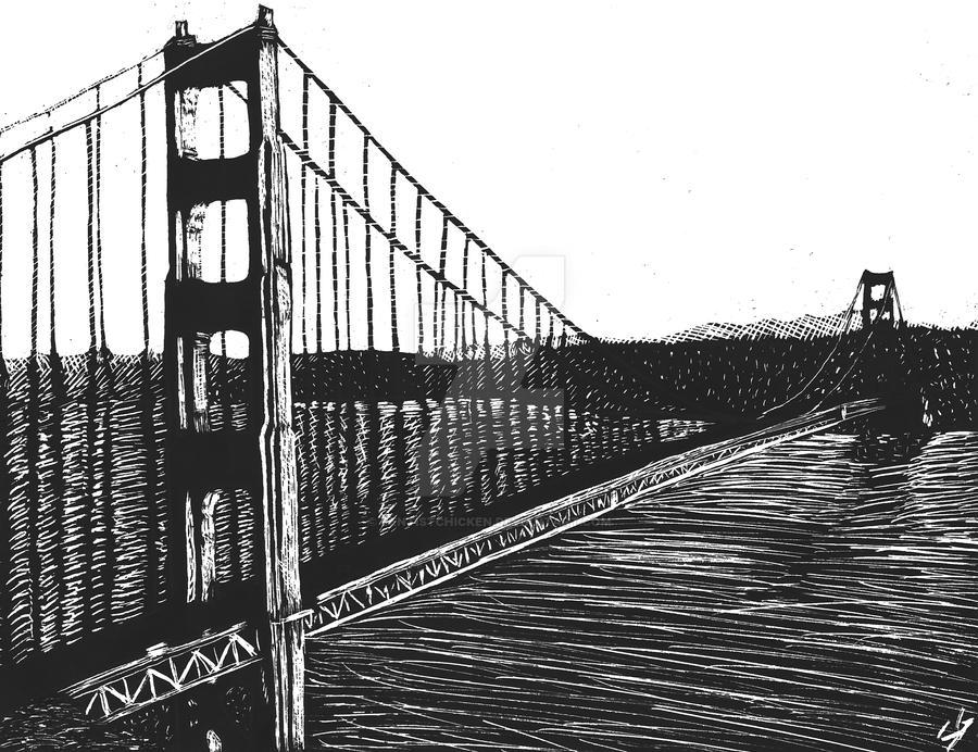 Scratchboard: Golden Gate Bridge by DentistChicken
