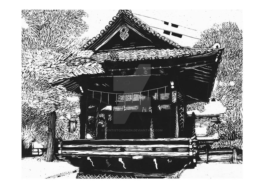 Scratchboard: Ebara Shrine by DentistChicken