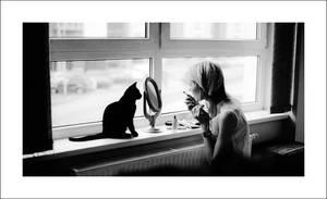 girl and the cat by aveledeizi