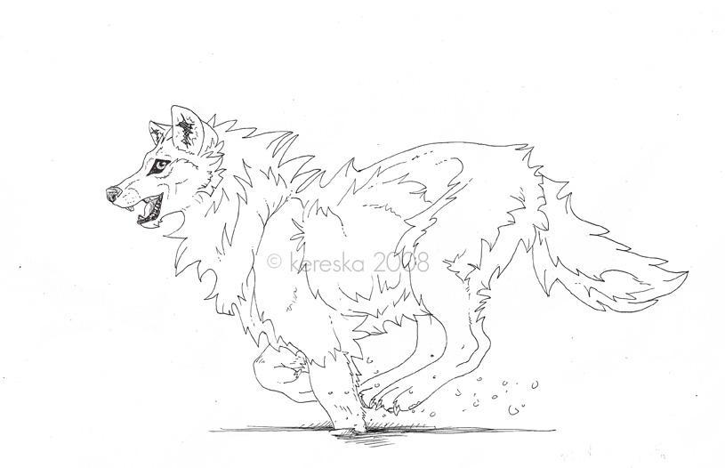 wolfy running sketch