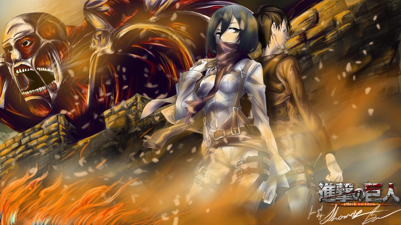 Eren And Misaka Attack On Titan Wallpaper By Xanacondax On Deviantart