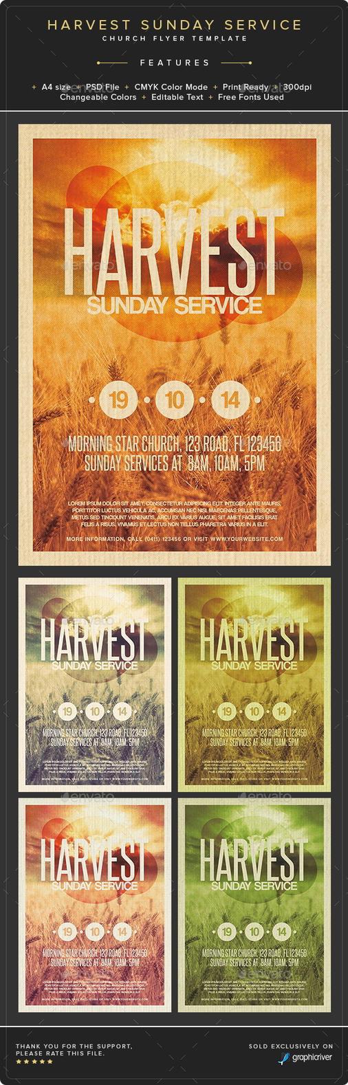 Harvest Sunday Service Flyer Template by Junaedy-Ponda