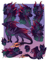 Deathtail sketch page comm by Skaydie
