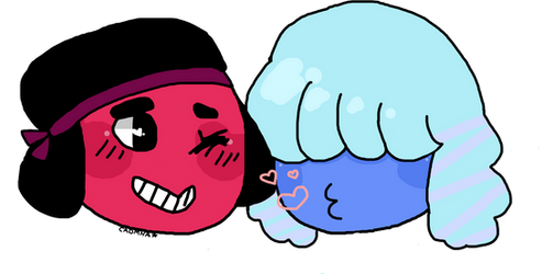 Ruby and Sapphire Smooches - Steven Universe by Caomha