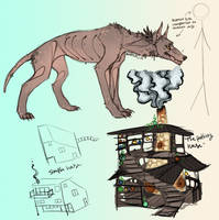 Dream Sketches and Notes: Mutant Dog and Bel House by Hauket