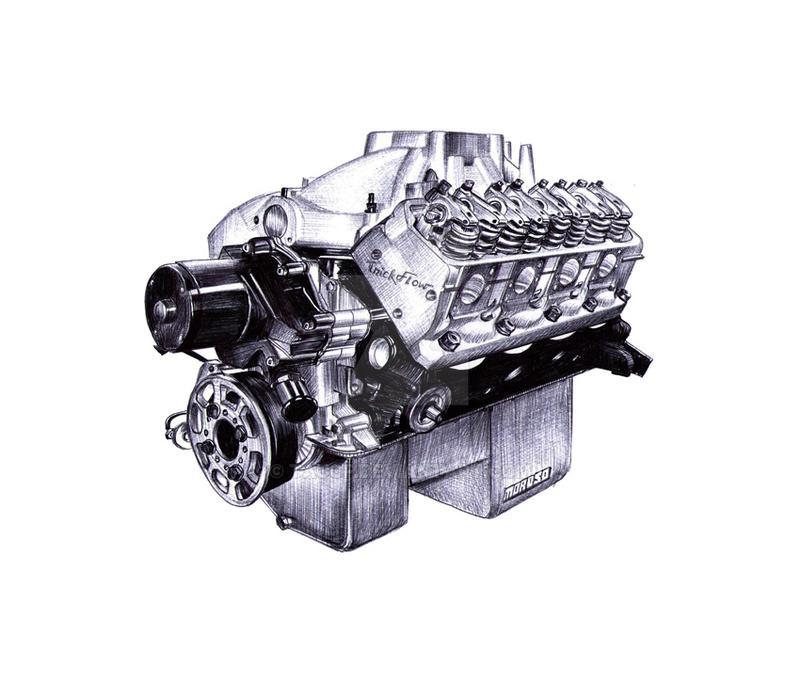 V8 Engine sketch by taucf on DeviantArt