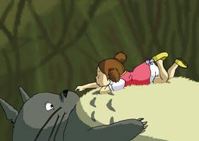 Totoro and Mei by Juggernaut-Art