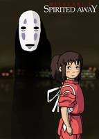 Spirited Away - Chihiro and No Face Poster by Juggernaut-Art