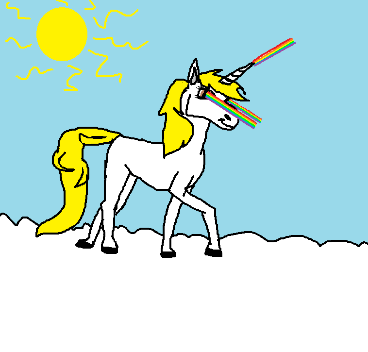 Laser Unicorn cloud sunshine happiness by Dillyt