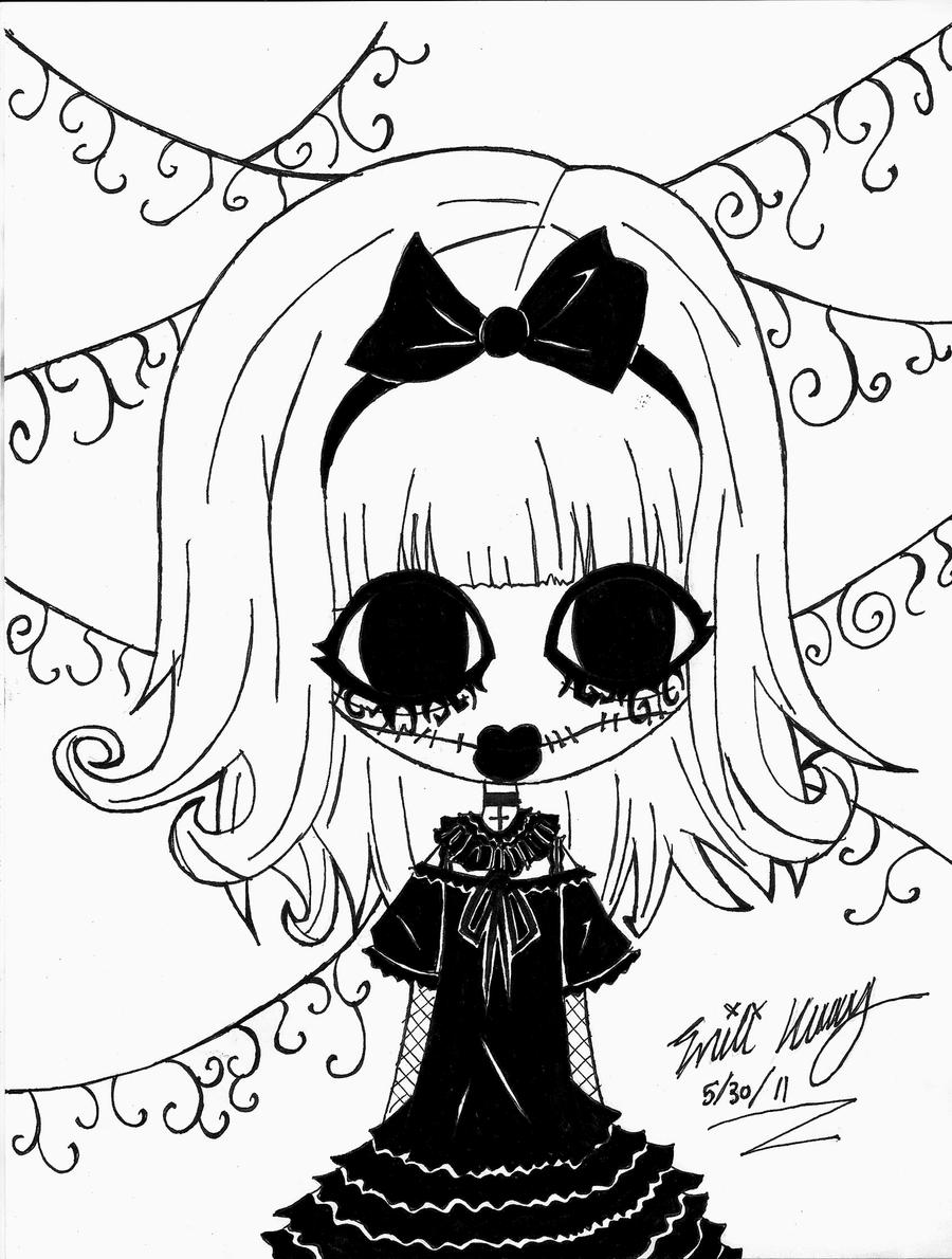 Easy Anime Drawings Gothic Girl By Darkphoneix On Deviantart
