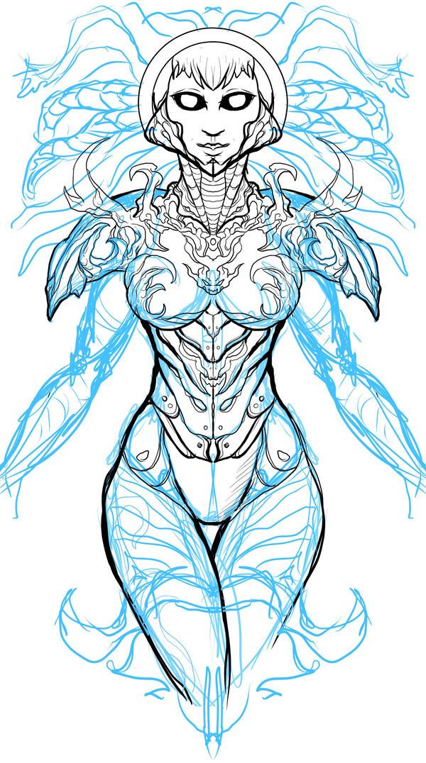WIP Sketch : Character ) ABRAXUS by digitalpenblade