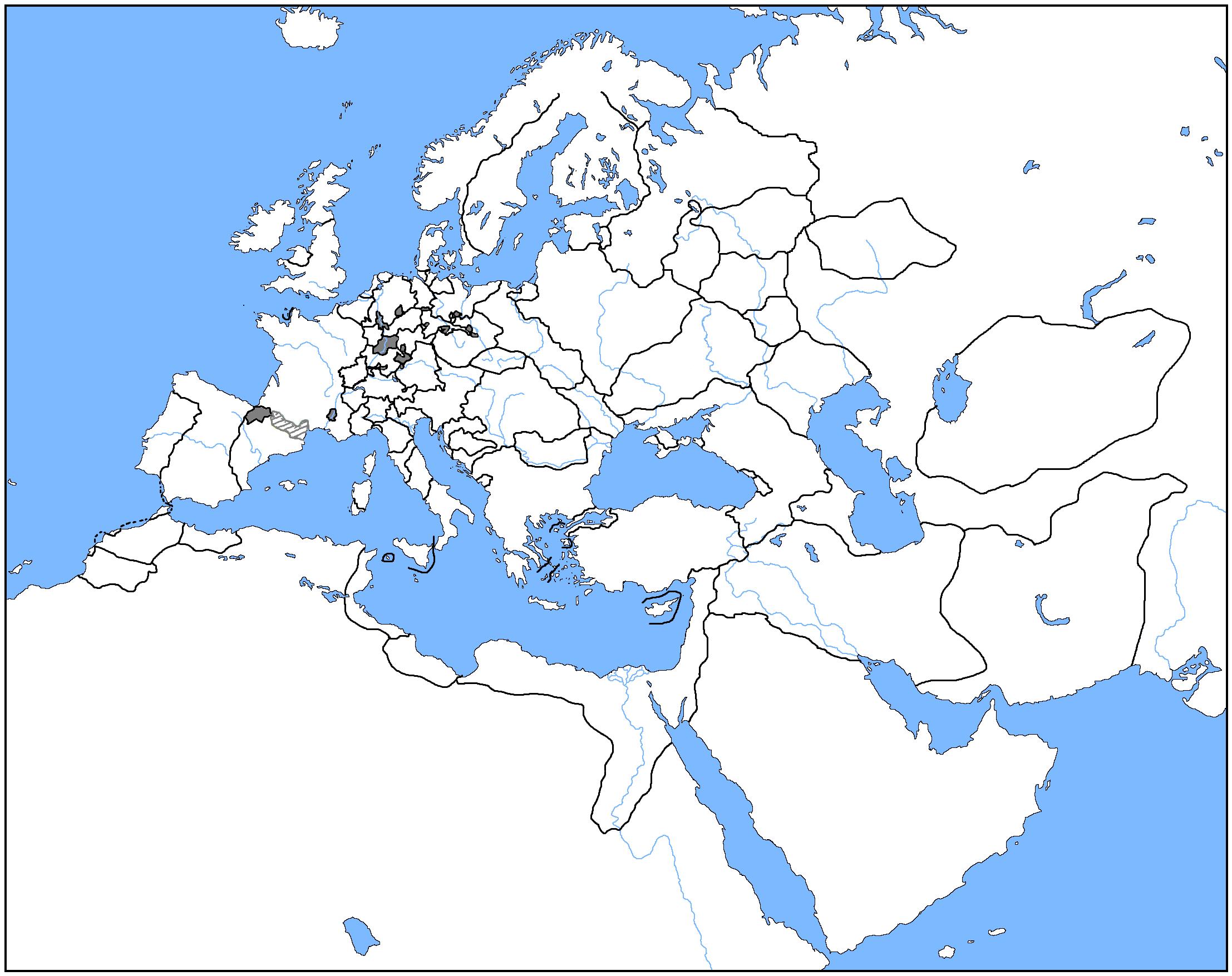 Blank Map Europe 1500