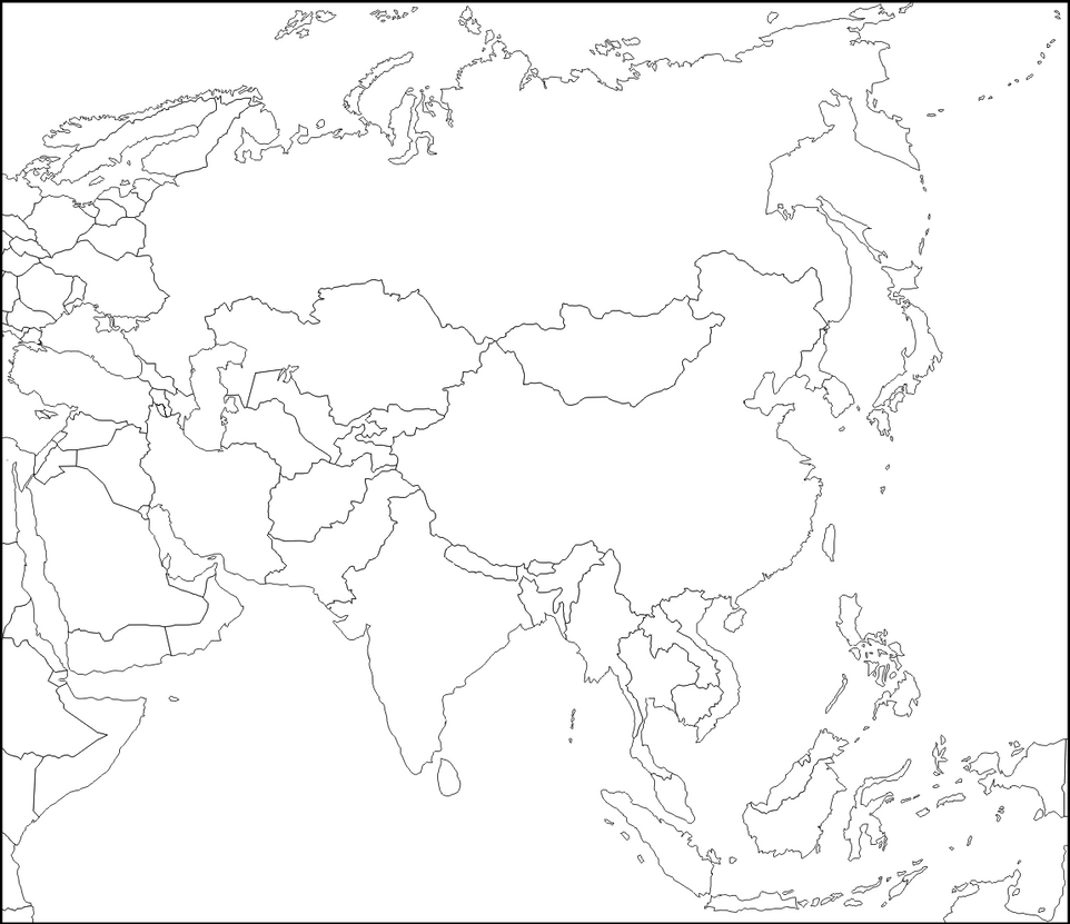 Blank Map Of Asia With Names.Blank Digital Map Of Asia