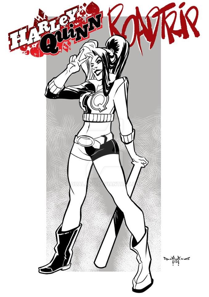 Harley Quinn Road trip pin up by qualano