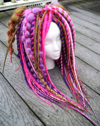 Pink, Purple, and Sandy Blond Dreadfalls by Burnhym1
