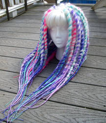 White, Pink, Lilac and Seafoam Green Dread Wig