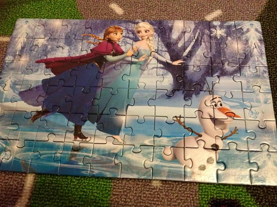 finished puzzle elsa and anna and olaf