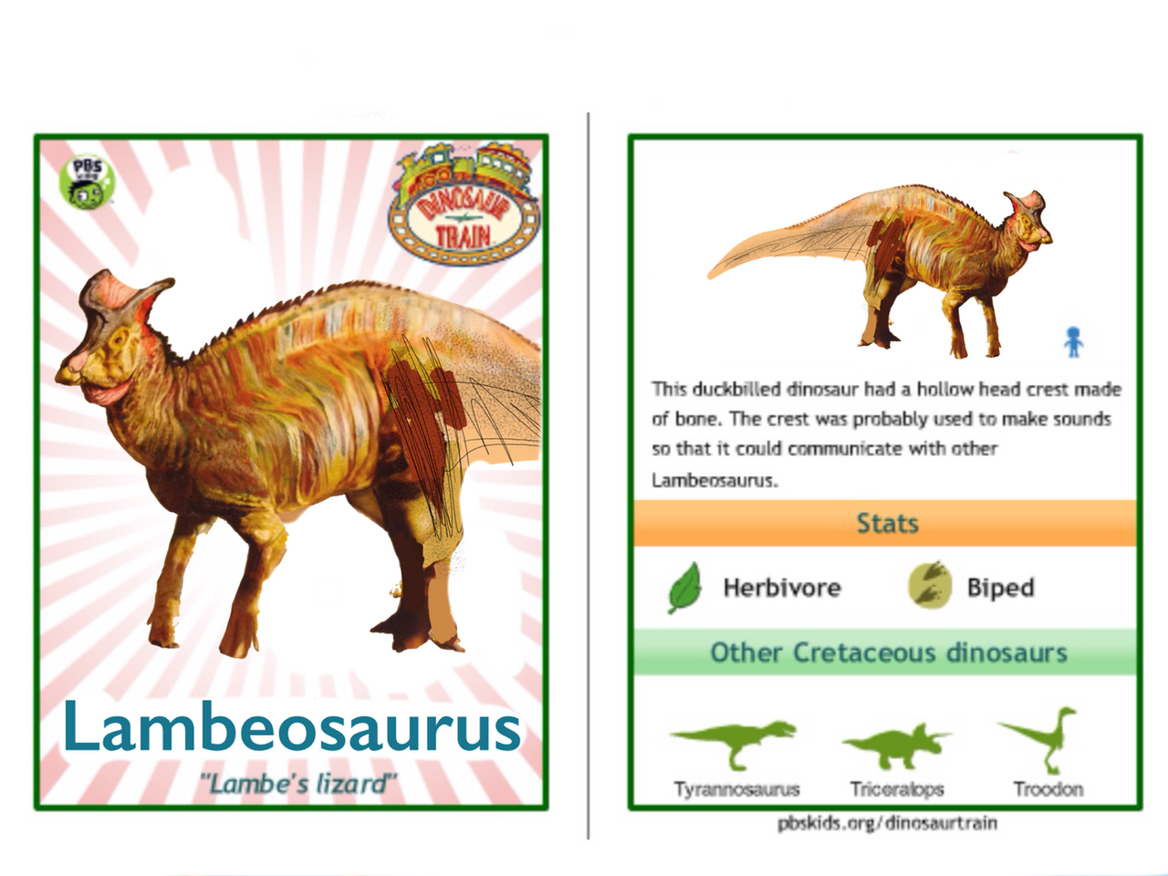 Dinosaur Train Lambeosaurus card by Vespisaurus on DeviantArt