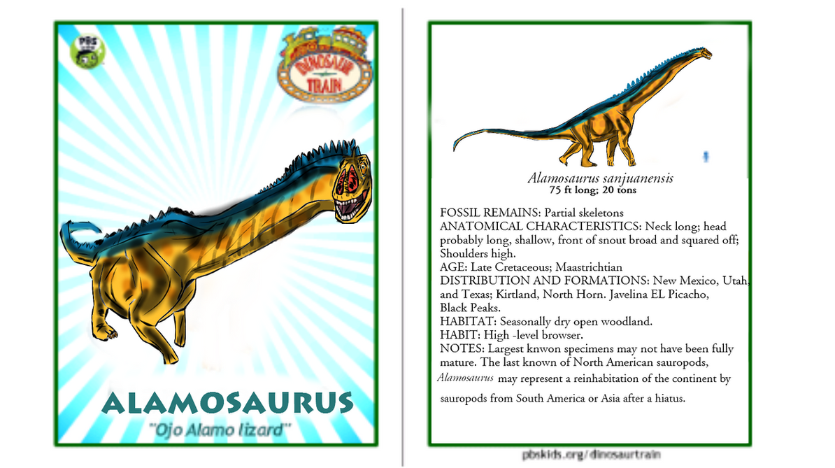 Dinosaur Train Alamosaurus Card (revised!) by Vespisaurus