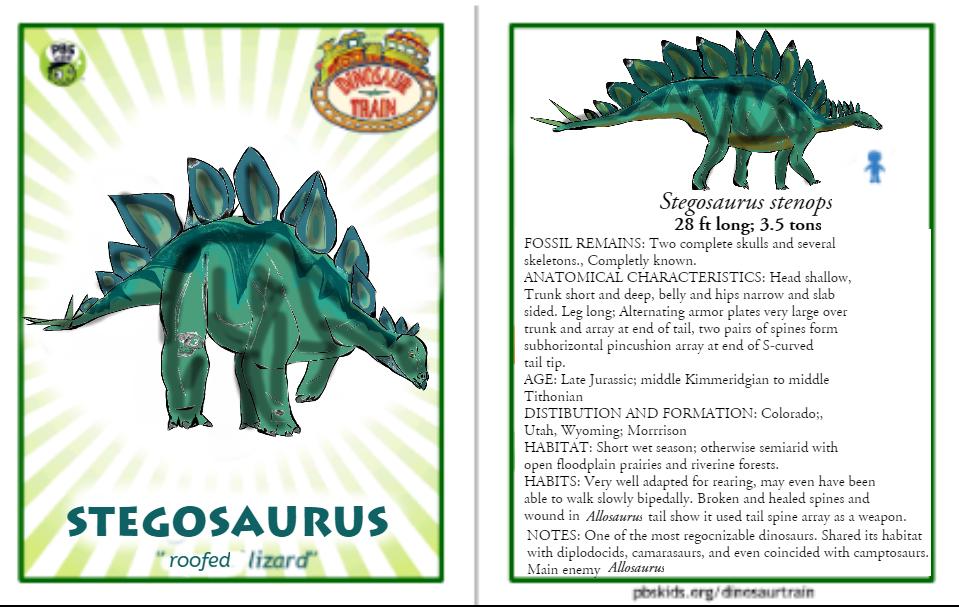 Dinosaur Train Stegosaurus card (revised!) by Vespisaurus