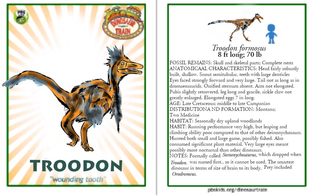 Dinosaur Train Troodon card (revised!) by Vespisaurus