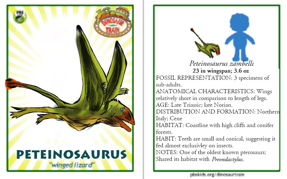 Dinosaur Train Peteinosaurus card (revised) by Vespisaurus