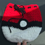 Crocheted Pokeball Drawstring Bag