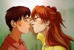 Asuka x Shinji kiss Evangelion